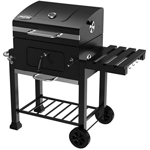 24 Inch Patio Outdoor Barbecue Charcoal Grill with Lid, Side Shelf & Wheels For Family BBQ Party