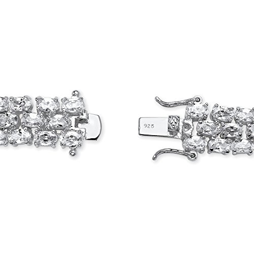 Oval White Cubic Zirconia Rhodium-Plated .925 Sterling Silver Tennis Bracelet 8.5'' by Lux (Image #1)