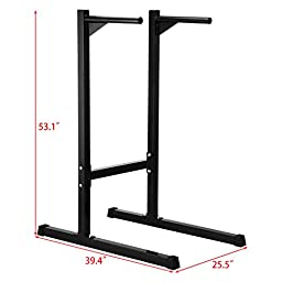 Ollieroo Heavy Duty Dip Stand Freestanding Dip Station Parallel Bar Bicep Triceps Home Gym Dipping Station Dip Bar-Black