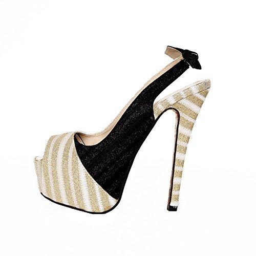 Open Bowknot Sandalen mit UK Gold High PU Plattform 3 Toe 5 Peep Farben Womens Heel VogueZone009 Verschiedene Stiletto fPwTx57qq