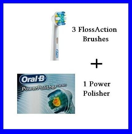 B Oral Power Polisher (4 Brushes Total - Braun Oral-B Triumph FlossAction Replacement Toothbrushes (3) and one (1) Power Polisher - Micropulse Bristles EB25 EB25-3 Brushheads Brush head)