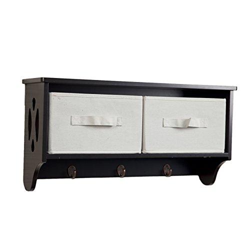 (Danya B. BQ0213 Rustic Wall Mount Entryway Coat Rack with Organizer Cubby Shelf, Canvas Storage Bins and Hooks)