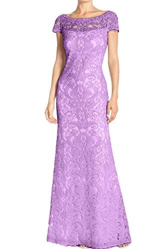 Lang Spitze Rund 2017 Partykleider Elegant Abendkleider Kurzarm Weiss Damen Neu Brautmutterkleider Ivydressing Lilac AwqTn8Wn