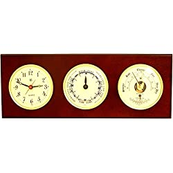 Bey-Berk Time Tide Clock, Barometer and Thermometer Mahogany