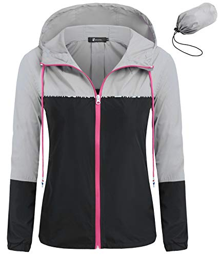 Windbreaker Packable - RAGEMALL Women's Waterproof Raincoats Packable Lightweight Windbreaker Active Outdoor Hooded Rain Jacket(Gray/Black,Small)