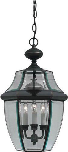 - Forte Lighting 1605-03-14 Traditional 3-Light Exterior Hanging Lantern with Clear Beveled Glass, Royal Bronze Finish