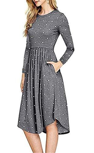 Casual Ibelive Polka Femmes Midi Bleu Vintage Swing Manches Pockets Shirt Longues Robes Dot wUrYrBxEnR