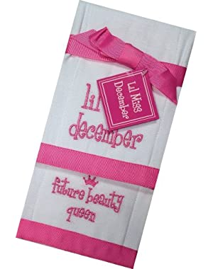 Lil Miss December Future Beauty Queen Baby Burp Bib Cloth Cotton Towel - Set of 2