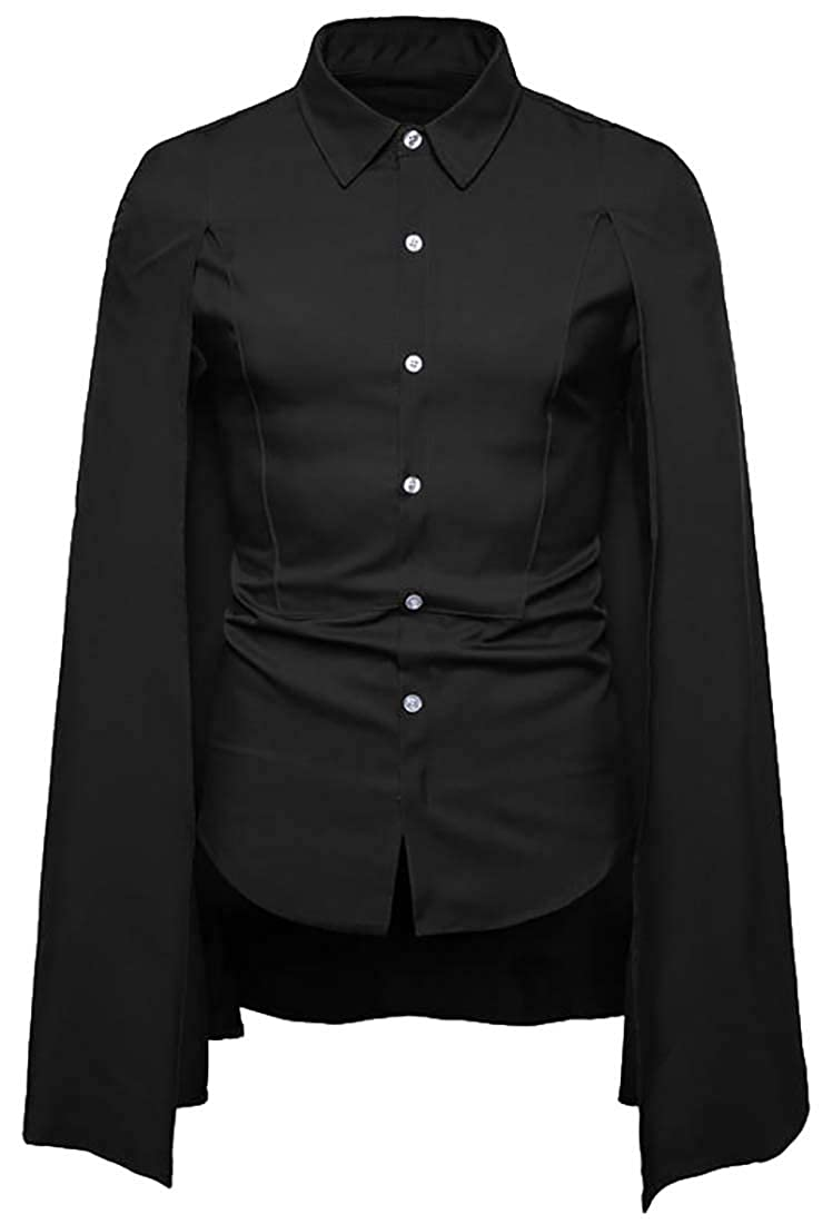 Sweatwater Mens Casual Lapel Neck Poncho Pleated Irregular Button Down Shirts