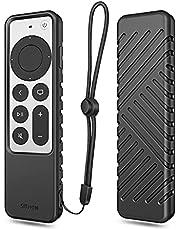 SITHON Siliconen hoesje voor Apple TV 4K 2021 afstandsbediening, lichtgewicht schokbestendige anti-slip beschermhoes met Lanyard Strap voor Apple TV 4K / HD Siri Remote (2e generatie), (zwart)
