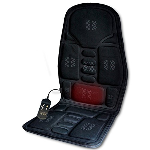Zone Tech 2-in-1 Car Seat Cushion - Black Premium Quality 12V Automotive Adjustable Temperature Comfortable Heating, 8 Function Massaging Car Seat Cushion (Gravity Anti Recliner Shiatsu)