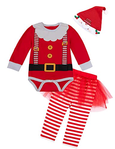 Infant Christmas Costumes (Baby Girls Christmas Costume Santa Claus Outfit Set Newborn Xmas Cute Clothes(3-6Month))