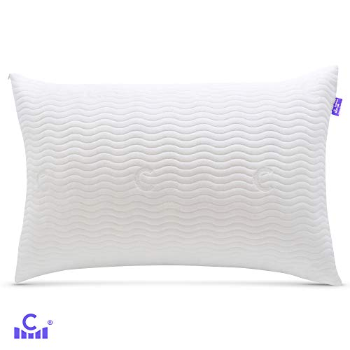 nse Adjustable Shredded Memory Foam Pillow for Back, Side Sleeper - Cervical Pillow for Neck Pain Relief - Hypoallergenic, Washable Bamboo Cover, Certipur - 20 X 30 Size, Queen ()