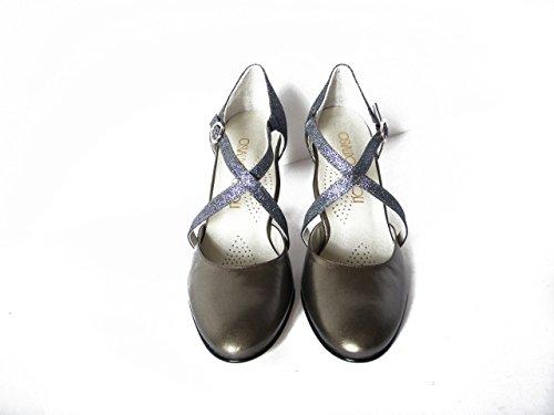 OSVALDO PERICOLI, Tanz / Eleganter Schuh Hut Leder Rotguss Farbe, 7cm Ferse. und Ledersohle canna di fucile