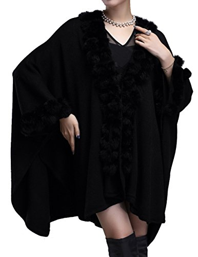 helan-womens-rabbit-fur-ball-knitting-fashion-cape-coat-black
