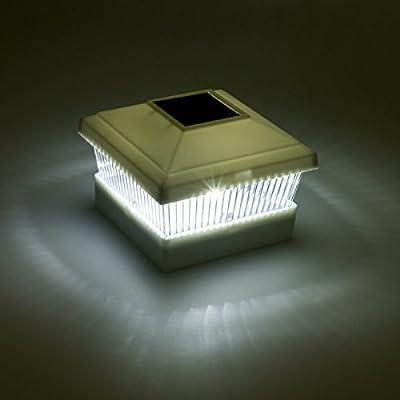 """Solar Fence Post Cap LED Light for 5""""x5"""" Posts, White, 12 Pack"""