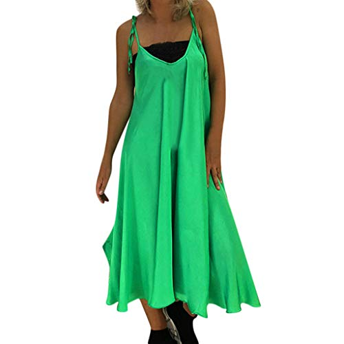 iPOGP Women Casual Solid Sleeveless Summer Ruffled Bandage V-Neck Loose Sling Maxi Dress Girl Fashion 2019(Green,S) ()