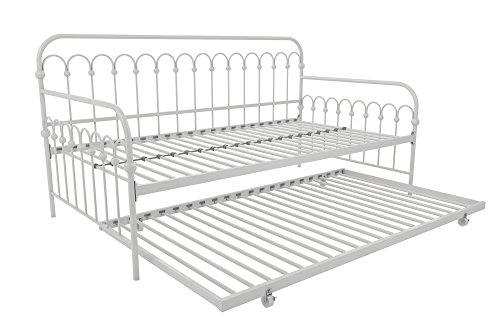 - Novogratz Bright Pop Twin Metal Daybed and Trundle, Stylish & Multifunctional, Built-in Casters, White