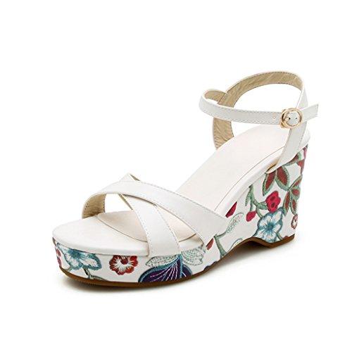 Sandales Talons Semelle Épaisse Chaussures Femmes PU Blanc Pente Femme pour Impression Supérieur Hauts Mode Été FZ7qFnCrw
