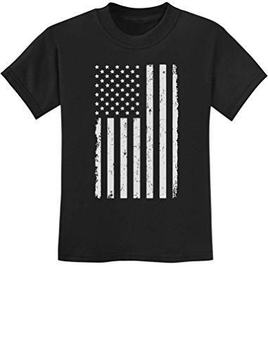 TeeStars - Big White American Flag - 4th of July Gift U.S.A Youth Kids T-Shirt Medium Black ()