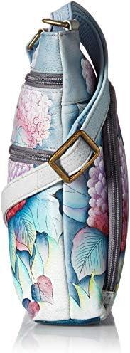 Anuschka avec poche frontale sac à bandoulière compact pour femmes   Peinture originale peinte à la main sur cuir véritable