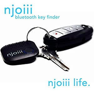 Njoiii Bluetooth Key Finder Black Highest Quality Key, Phone, Wallet Finder Extra Loud. A Tracker Device For Your Keychain. Find Misplaced Items, Get Where You Need To Be Without Wasting Time