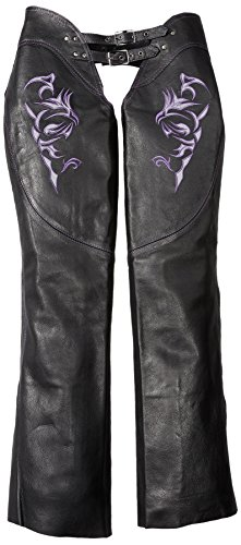 Milwaukee Women's Leather Chaps (Black/Purple, Large)