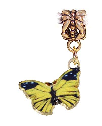 Yellow Black Butterfly Enamel Gold Tone Dangle Charm for European Bead Bracelets Crafting Key Chain Bracelet Necklace Jewelry Accessories Pendants