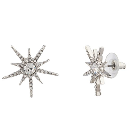 Lux Accessories Pave Crystal Sun Star Galaxy Stud Earrings. (Starburst Costume)