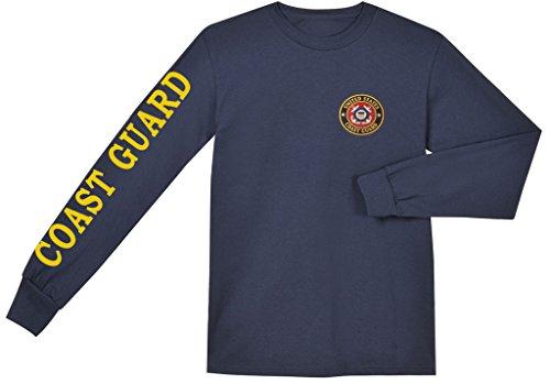 Coast Guard sleeve design long sleeve navy blue tee shirt t-shirt Medium