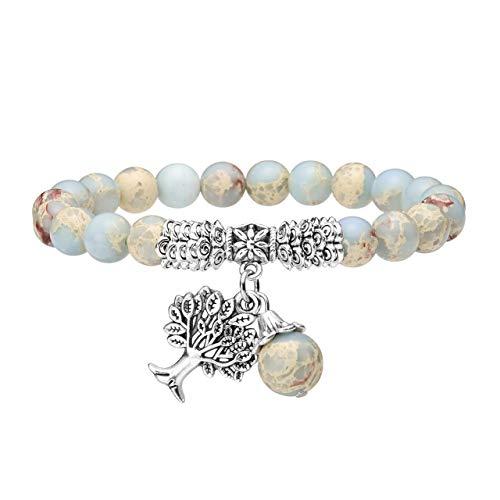 - Top Plaza Handmade Imperial Jasper Stone Beads Bracelet Reiki Healing Crystal Gemstone Dangle Tree of Life Charms Pendant Birthstone Bracelet(6.2