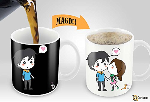 Him Design (Heat Sensitive Mug | Color Changing Coffee Mug | Funny Coffee Cup | Lovely Cartoon Couples Design | Birthday Gift Idea for Him or Her, Mother' Gift for Mom and Father's Day Gift for Dad)