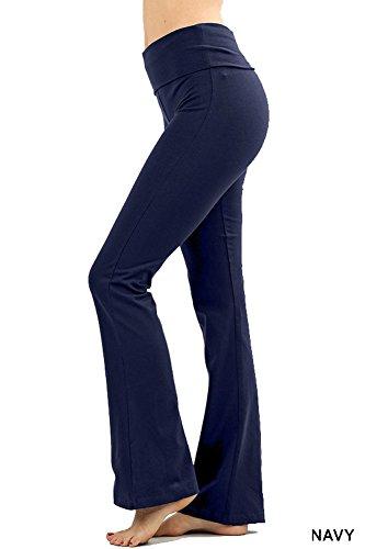 Trousers Cotton Bootcut (Zenana Premium Cotton FOLD Over Yoga Flare Pants,Navy,X-Large)