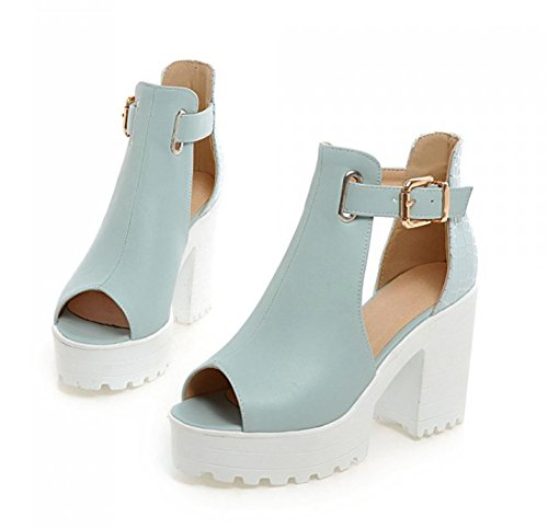 Aisun Womens New Platform Peep Toe Block Heel Dress Sandals Blue TYrUJK