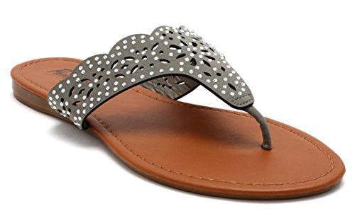 Jewel Thong (Pembrook Flat Thong Sandals – SIZ 6 - Casual Spring and Summer Dress Casual - Rhinestone Bohemian Flip Flop Shoes – Cute Flip Flop Sandals for Ladies, Women, Teens, Girls)
