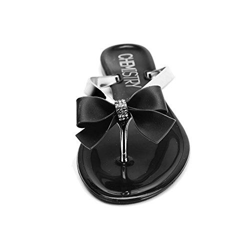 Sandals Chemistry T501 Flat Womens Flops On Shoes Flip Slip Black v88Uwqnx