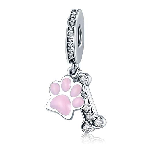 JIAYIQI Dog Paw Charm 925 Sterling Silver Cute Dog Beads With Cubic Zirconia Crystals Fit Pandora Beaded Bracelets Dog Lovers