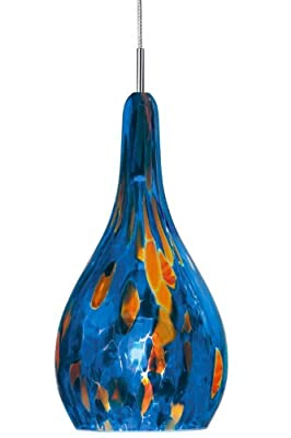 Stone Lighting PD101BGBZX3M Pendant, Bronze Finish with Colorful Frit and Iris Imbued Blown Italian Glass Shades