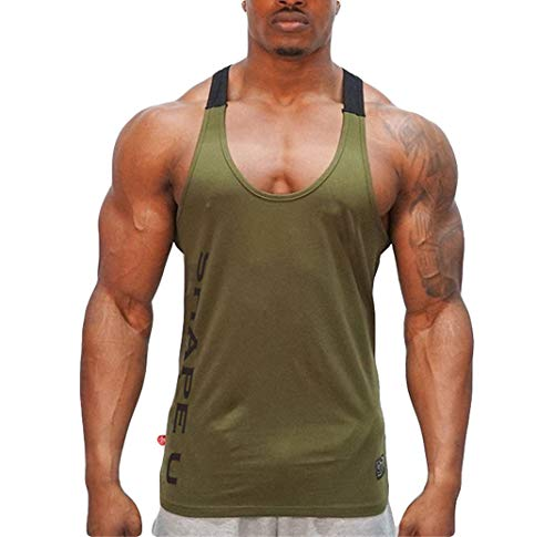 Lesimsam Men Muscle Fitness Tank Top Bodybuilding Workout Gym Sport Sleeveless Stringer Shirts Vest (TAG 2XL=US L, Green)