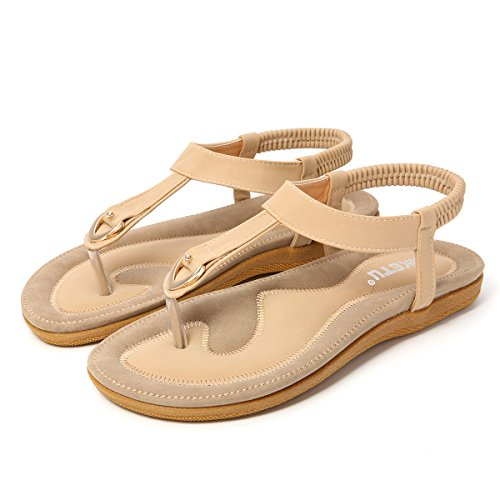 Pantoufles Weightlight Bohême Sandales Orteil Gracosy Pour T Plat Été Strings Flops Chaussures Flip Beige Eau sangle Dames Chaussures Herringbone Sandales Sandales Clip Appartements Chaussures Plage Élastique Femmes Souples EXwtS