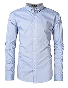 AMZ PLUS Men's Plus Size Casual Short Sleeve Oxford Shirt Big and Tall Cotton Western Shirts