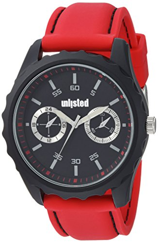 UNLISTED WATCHES Men's 'Sport' Quartz Metal and Silicone Dress Watch, Color:Red (Model: 10031975)