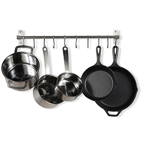 Gourmet Pot Rack - Stainless Steel Gourmet Kitchen 23.25 Inch Wall Rail Pot Pan Utensil Lid Rack Storage Organizer with 10 S Hooks