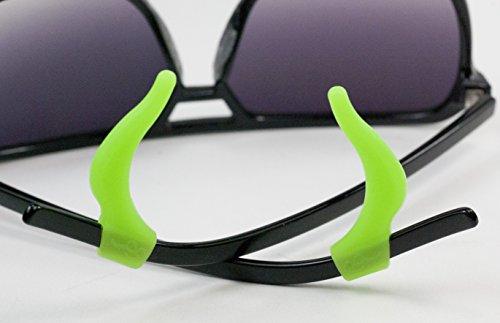GMS Optical Soft Silicone Temple Tips (1 Pair, Neon Green) Prevent Glasses From Slipping Eyeglass Retainer Sports Eyeglasses Anti Slip Ear Hook Sleeve Anti Slide - Icon Eyeglasses