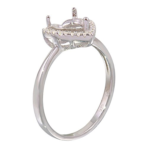 Exquisite Sterling Silver Rhodium Plated Center Heart Mounting Only Ring with CZ - ()