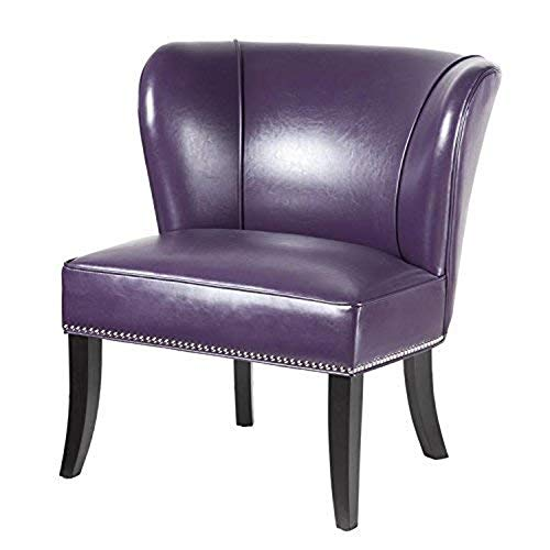 Accent Slipper Chair, Soft Modern Side Chair, Faux Leather Upholstery Contemporary European Style Chair, Guest, Reception, Living Room Seat (Purple)