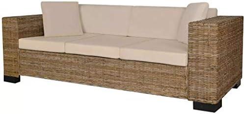 UnfadeMemory Muebles de Jardin Exterior,Sofá de Jardín,con Cojines y Almohadas,Fundas de Cojín Extraíbles,Ratán Natural (3 Plazas-200x80x61cm, Natural): Amazon.es: Hogar