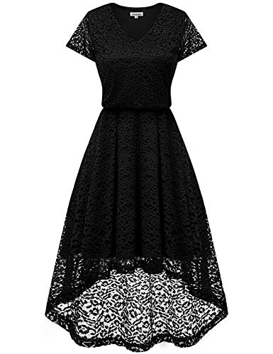 Bbonlinedress Women's Vintage Floral Lace High Low Cap Sleeve Formal Cocktail Swing Party Dress Black L ()