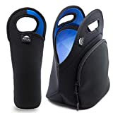 """Insulated Neoprene Lunch Bag Tote Includes 12"""" Big Water Bottle Cooler 