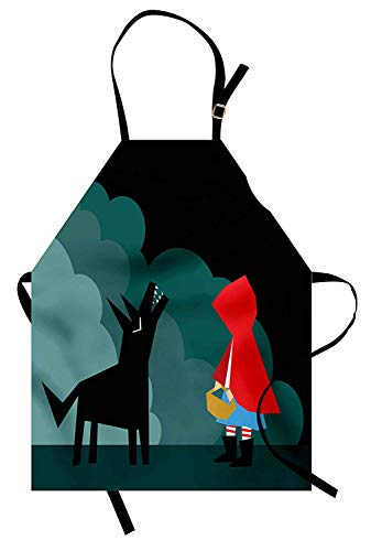 T&H Home Crying Wolf Apron, Cartoon Style Little Red Riding Hood Scene Fairy Tale Illustration Big Bad Wolf, Unisex Kitchen Bib Apron Adjustable for Kids Adults Cooking Baking Gardening, Multicolor
